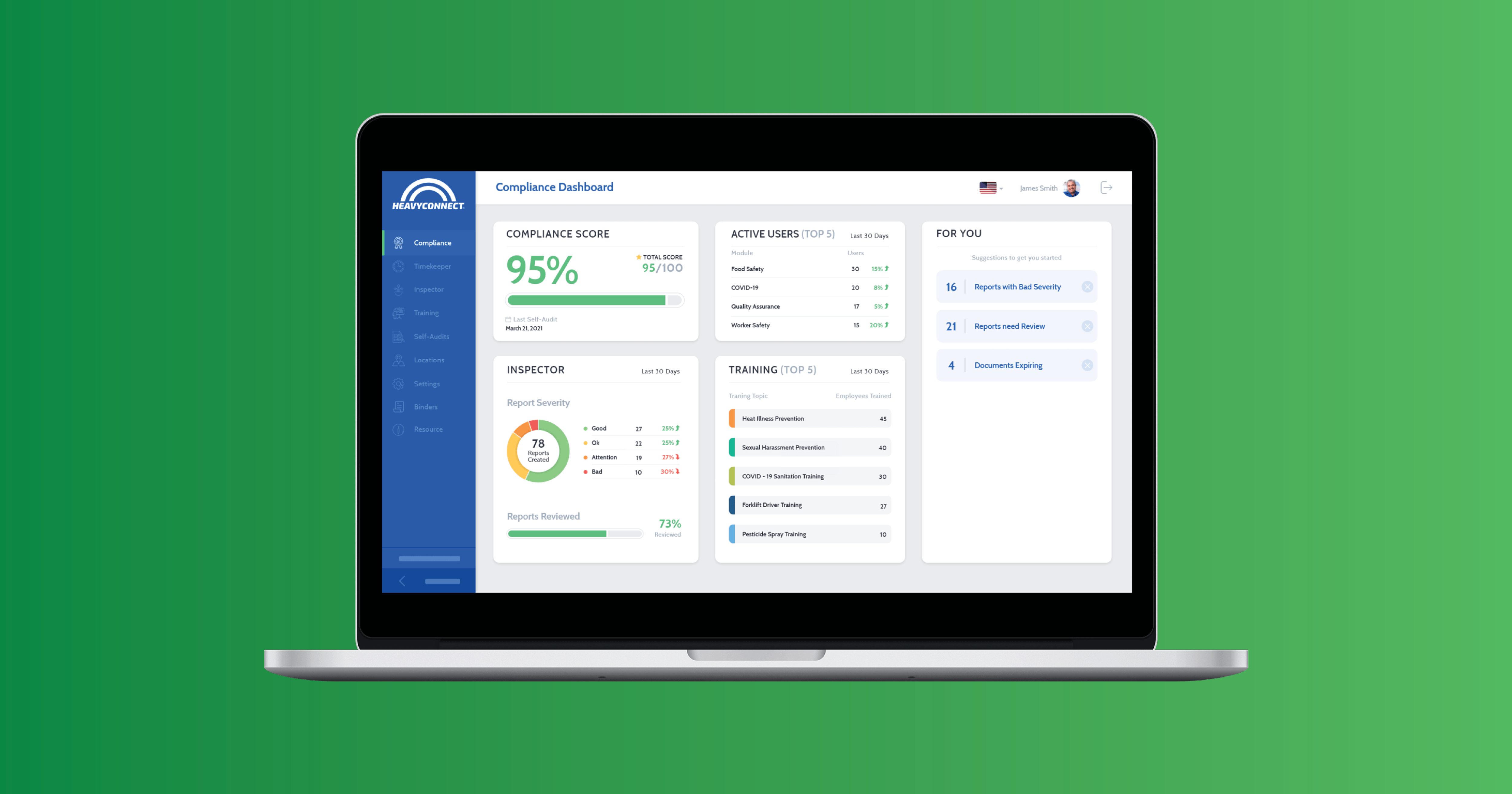 Compliance dashboard on laptop